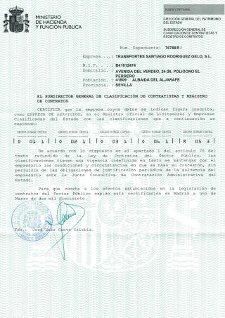 Certificado contratista de servicios